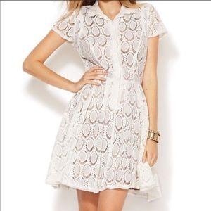 BCBGMaxAzria Ivory Mini Lace Dress 4P Half Button